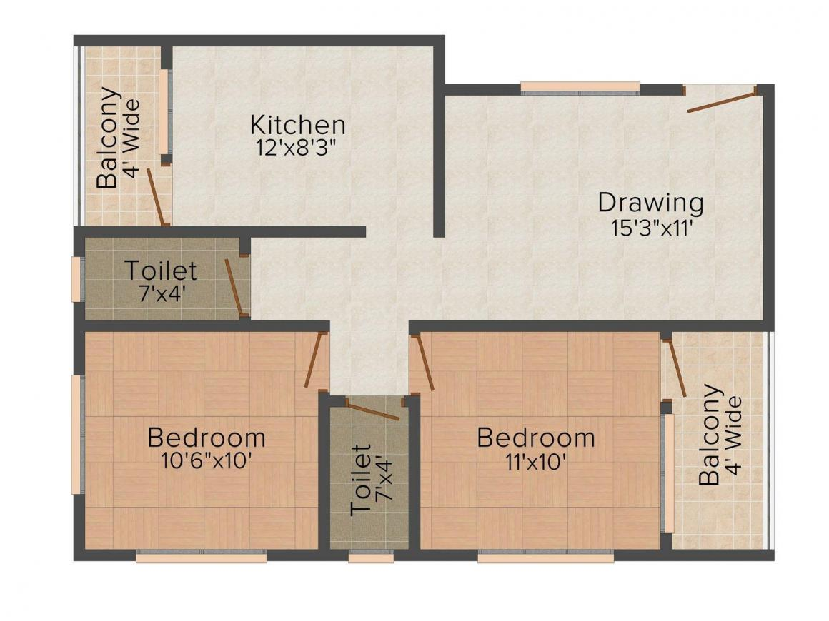Floor Plan Image of 815 - 1225 Sq.ft 2 BHK Apartment for buy in Ismail Royal Pearl Residency