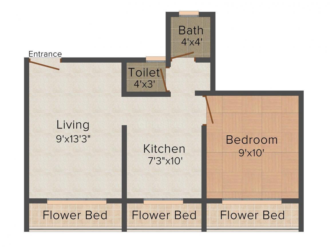 Floor Plan Image of 0 - 620.0 Sq.ft 1 BHK Apartment for buy in Renuka Darshan