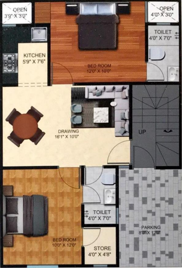 BRD Divine Residency Floor Plan: 2 BHK Unit with Built up area of 980 sq.ft 1