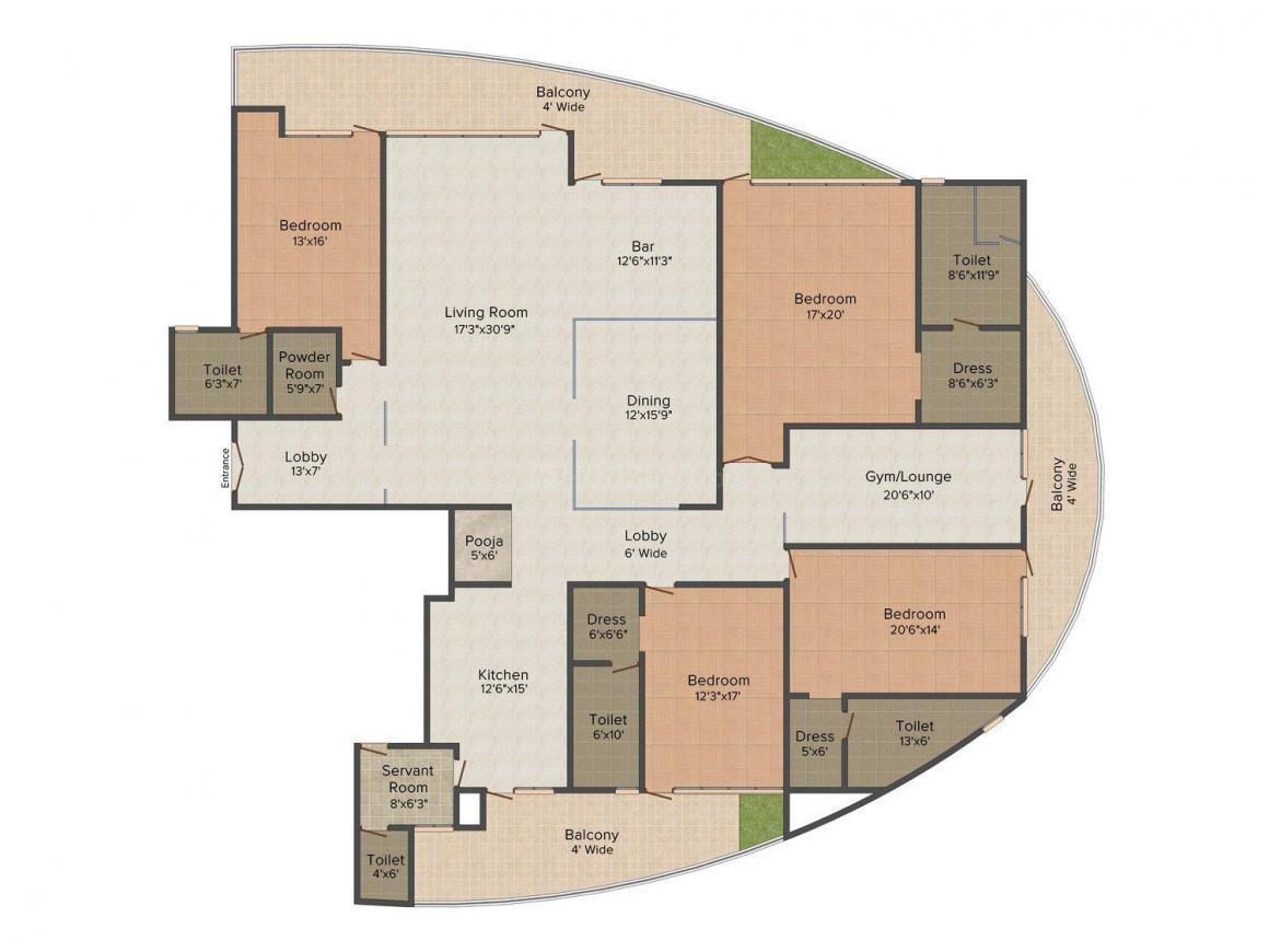 Krrish Monde De Provence Floor Plan: 4 BHK Unit with Built up area of 5450 sq.ft 1