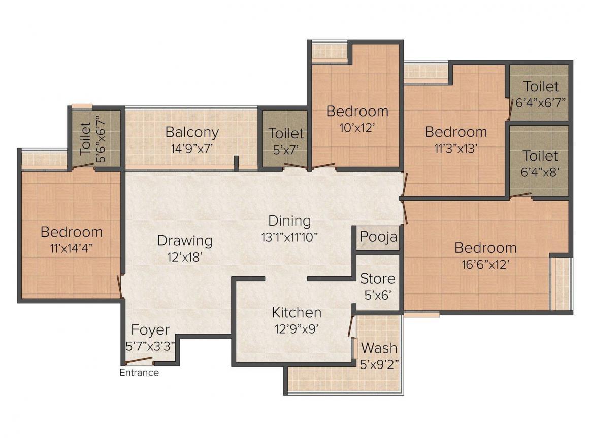 Floor Plan Image of 0 - 1850.0 Sq.ft 4 BHK Independent Floor for buy in BF - 112