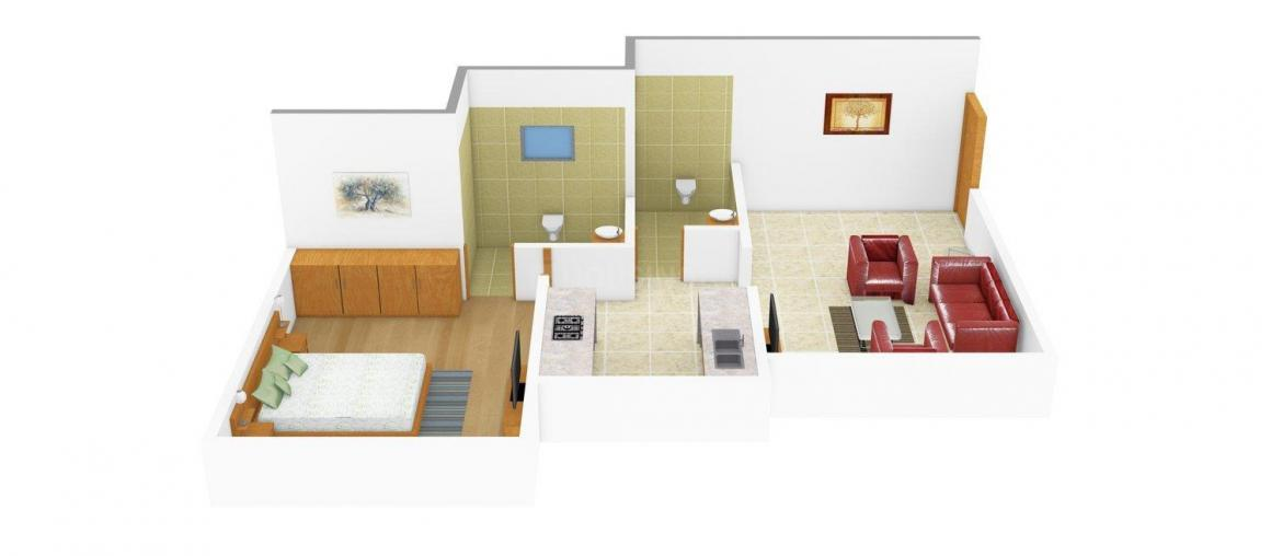 Floor Plan Image of 0 - 550.0 Sq.ft 1 BHK Apartment for buy in Nest Maple