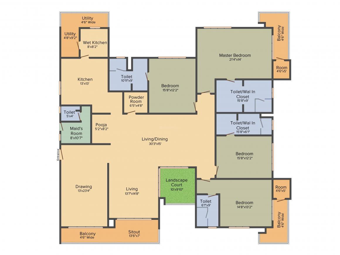 Jayabheri The Peak Floor Plan: 4 BHK Unit with Built up area of 4690 sq.ft 1