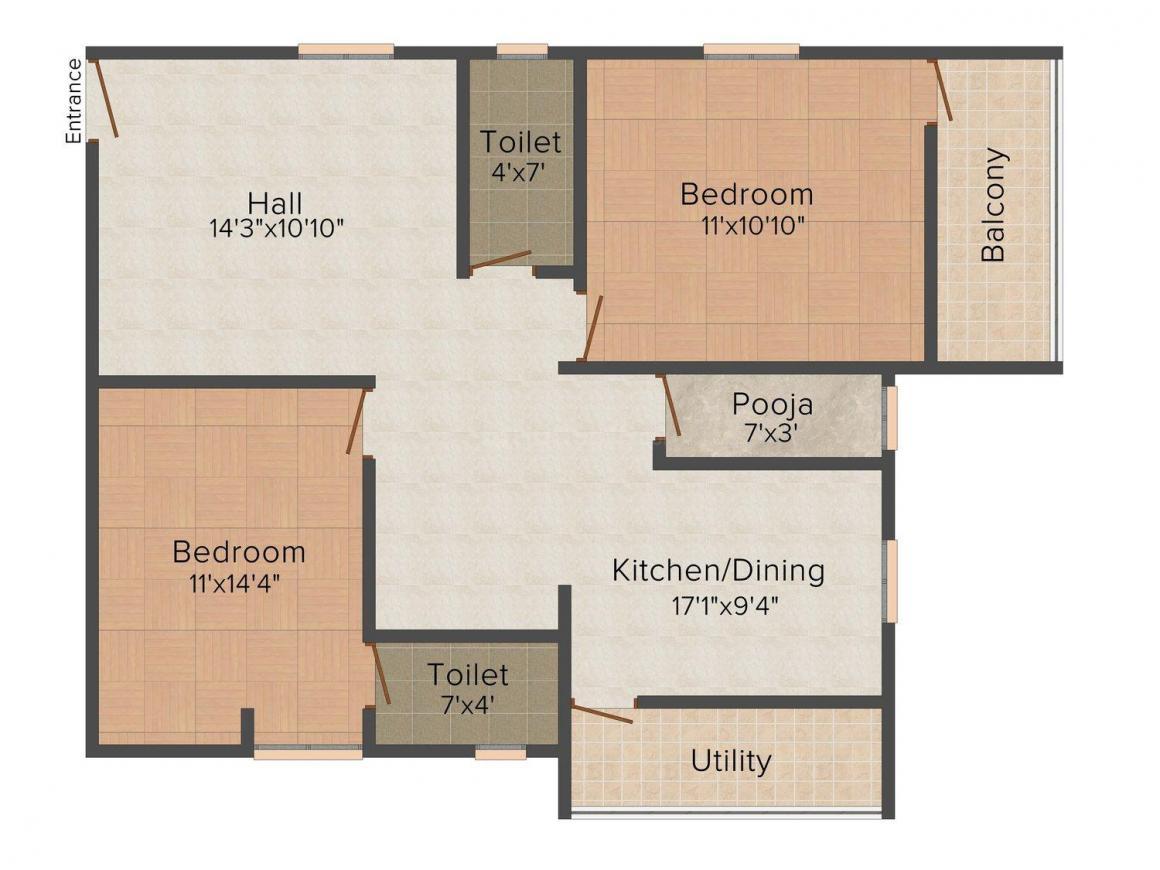 Vasavi Dwarakamai Residency Floor Plan: 2 BHK Unit with Built up area of 1080 sq.ft 1