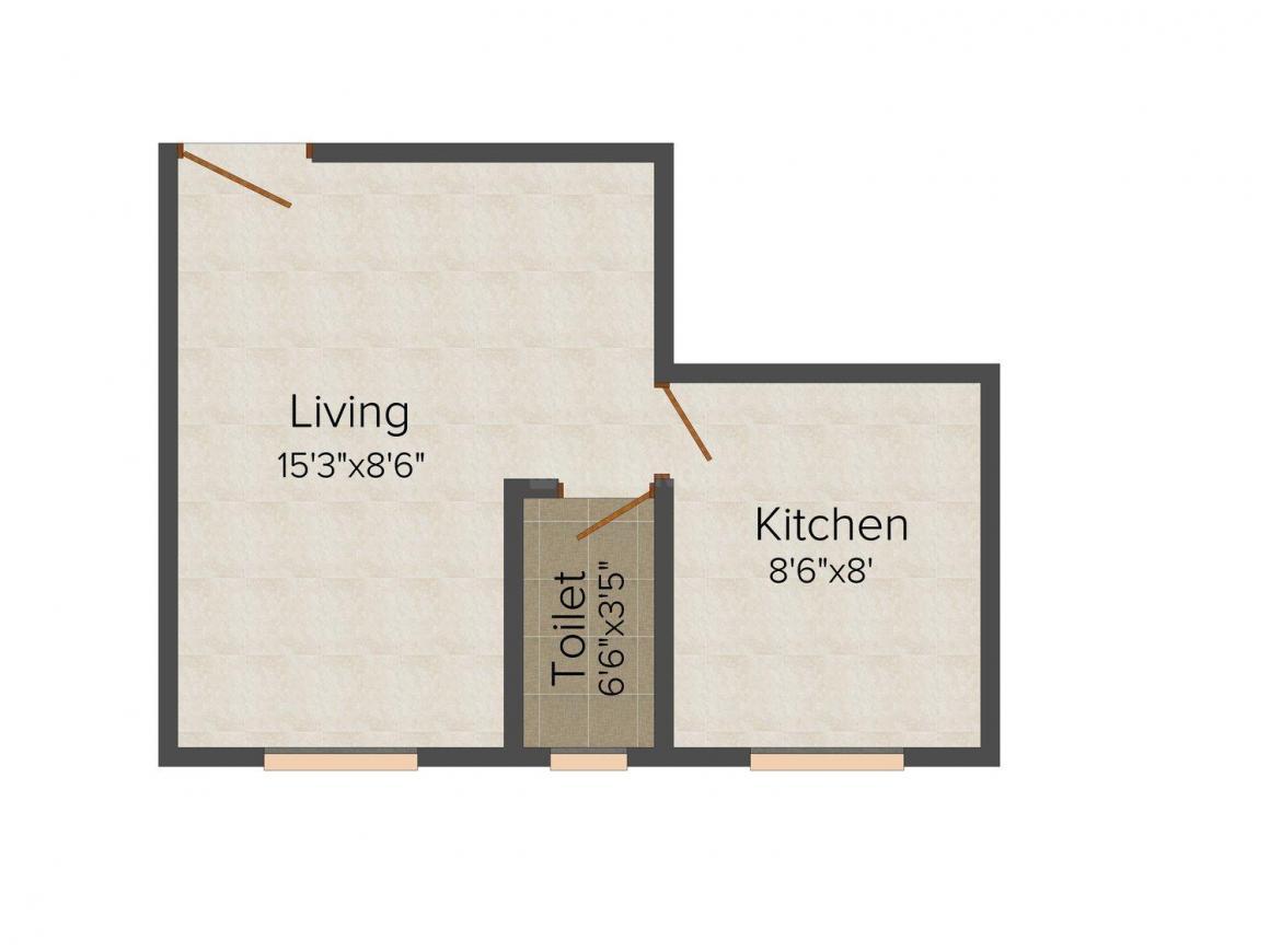 Floor Plan Image of 310.0 - 683.0 Sq.ft 1 RK Apartment for buy in Rangoli Prasad Anita Mahal