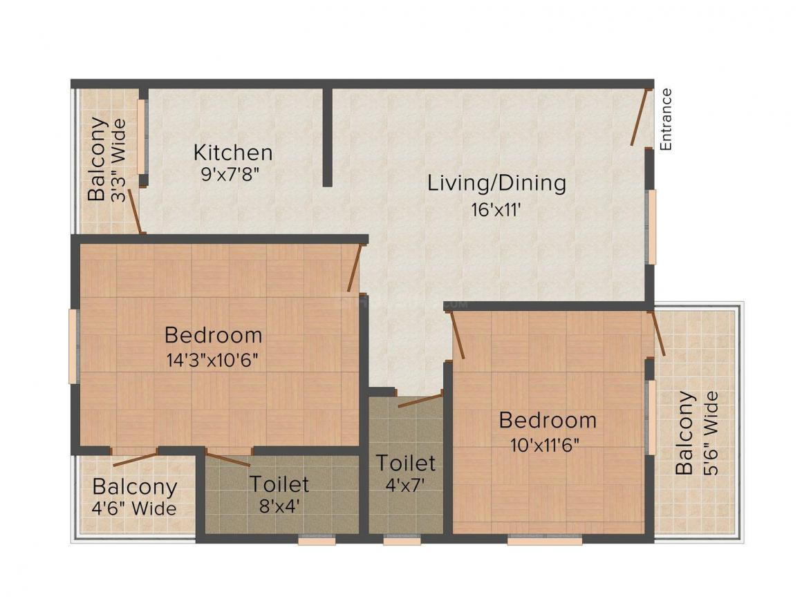 Floor Plan Image of 0 - 1020 Sq.ft 2 BHK Apartment for buy in AIR Pancham Apartment 2