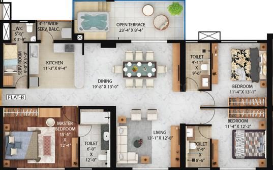 Merlin The Fourth Floor Plan: 3 BHK Unit with Built up area of 1564 sq.ft 1