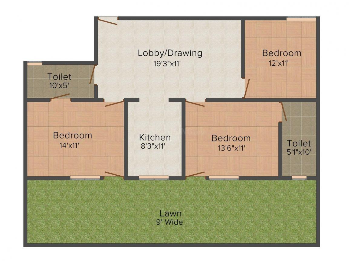 Om Develop Property Floor Plan: 3 BHK Unit with Built up area of 1150 sq.ft 1