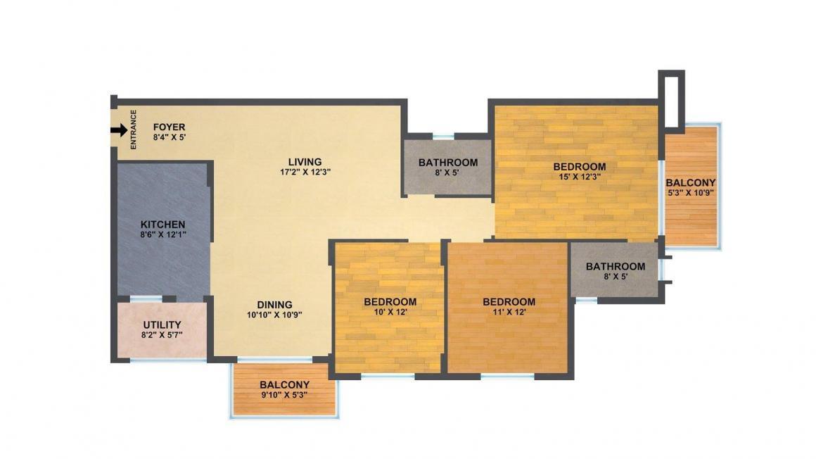 Sumadhura Shikharam Floor Plan: 3 BHK Unit with Built up area of 1600 sq.ft 1