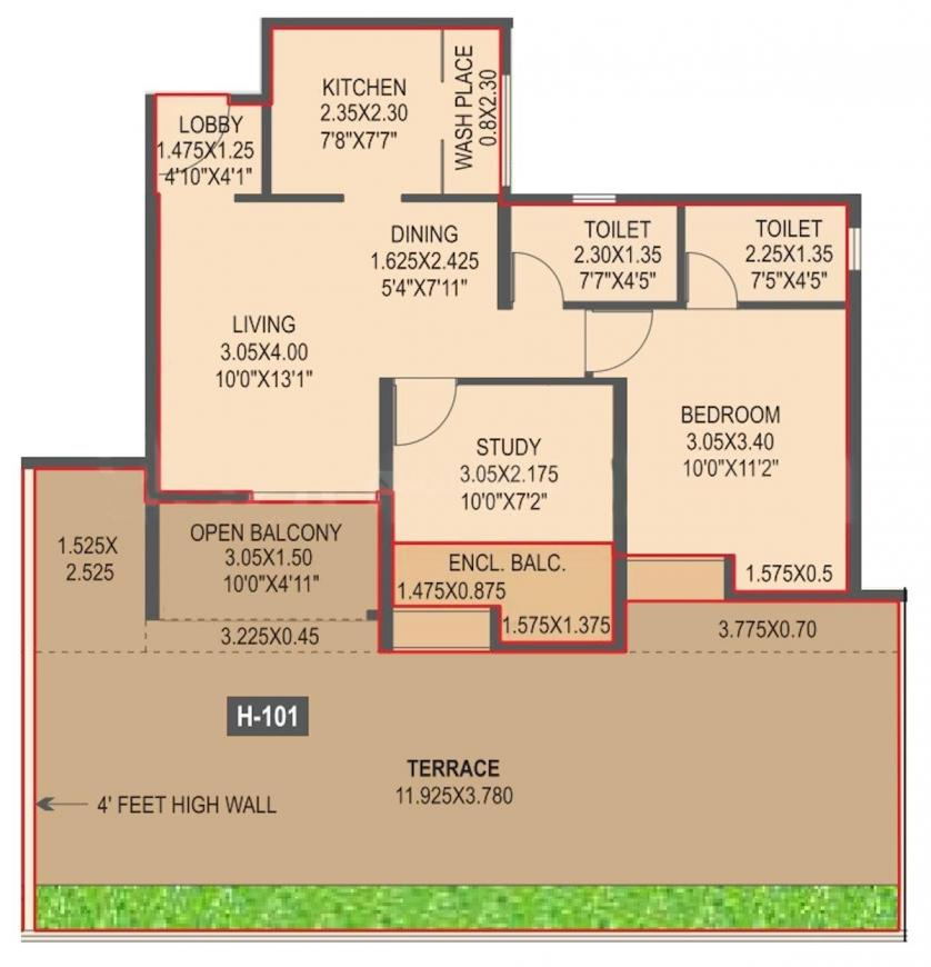 Kothari The Leaf Phase III Floor Plan: 2 BHK Unit with Built up area of 575 sq.ft 1