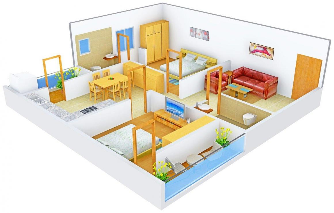 Floor Plan Image of 1140.0 - 1690.0 Sq.ft 2 BHK Apartment for buy in Lahari Greens