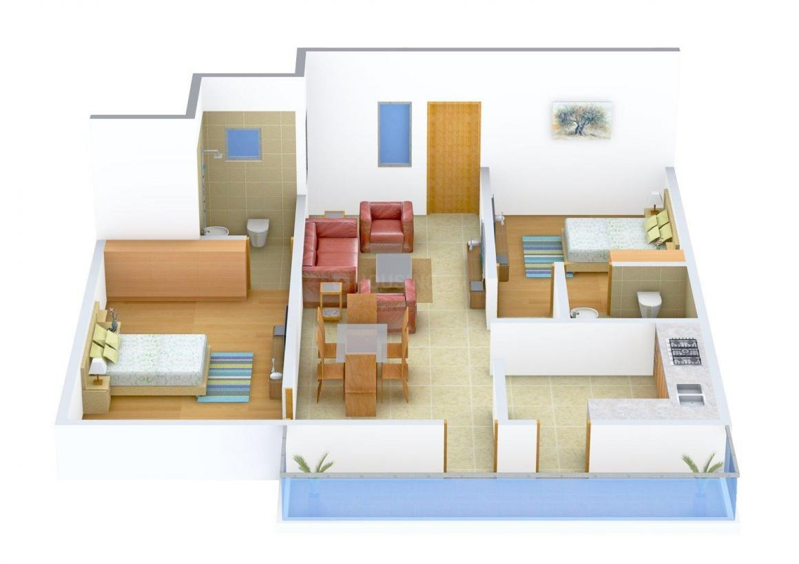 Floor Plan Image of 1092 - 1382 Sq.ft 2 BHK Apartment for buy in Springfield Riveria - Anthea Apartments