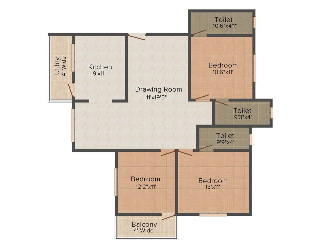Floor Plan Image of 1550.0 - 1700.0 Sq.ft 3 BHK Apartment for buy in Green Amans Imperial