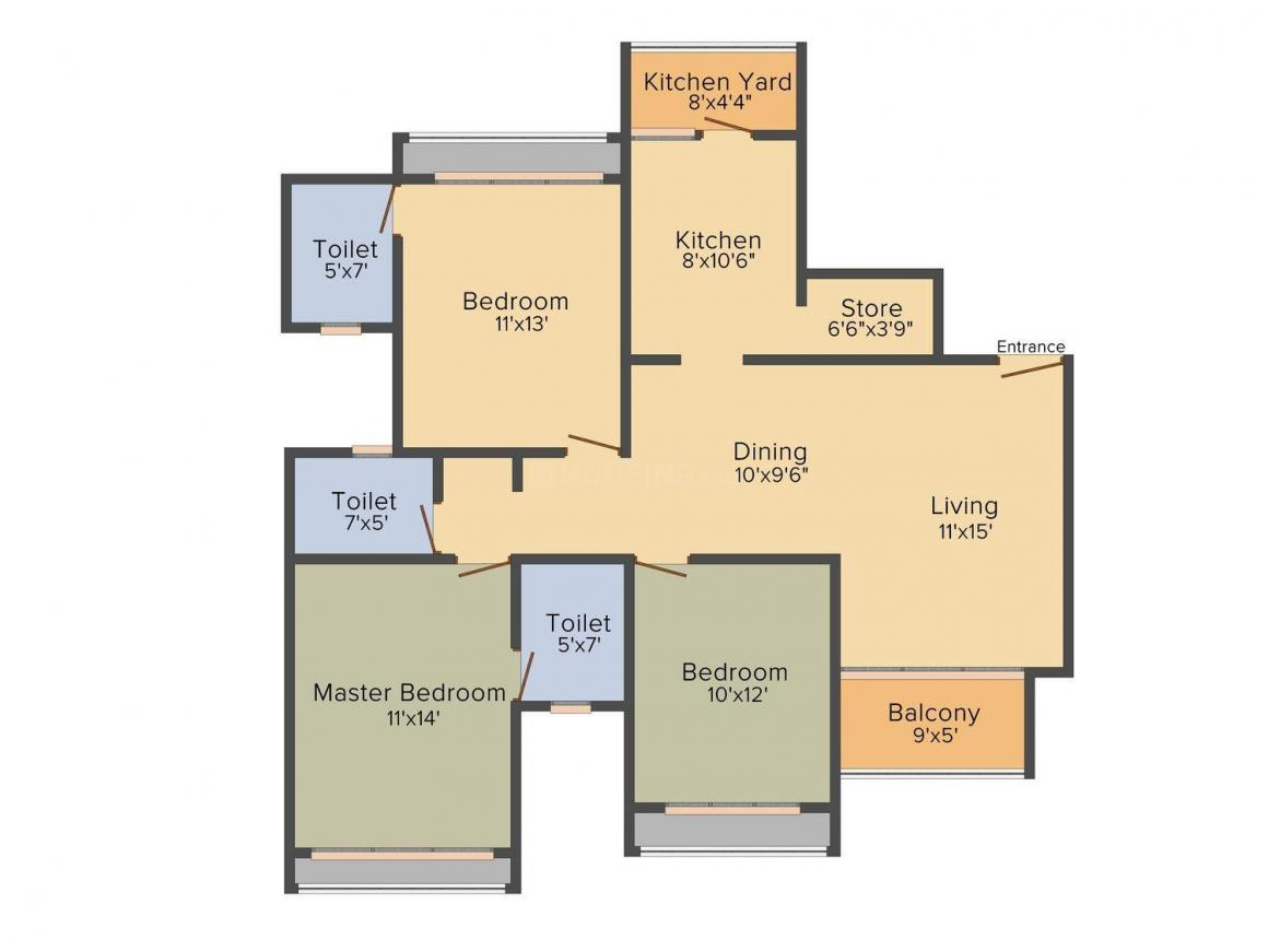 Floor Plan Image of 0 - 1665 Sq.ft 3 BHK Apartment for buy in Goyal & Co. Vishal Tower