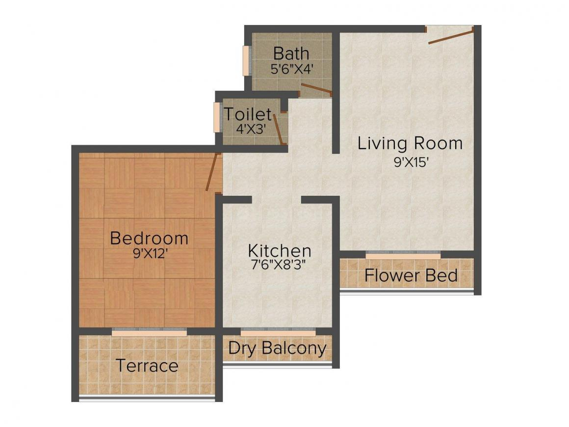 Floor Plan Image of 455.0 - 700.0 Sq.ft 1 BHK Apartment for buy in Shree Imperial Classic