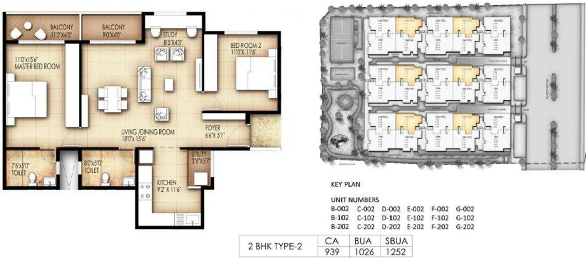 King George Avenue Floor Plan: 2 BHK Unit with Built up area of 1252 sq.ft 1