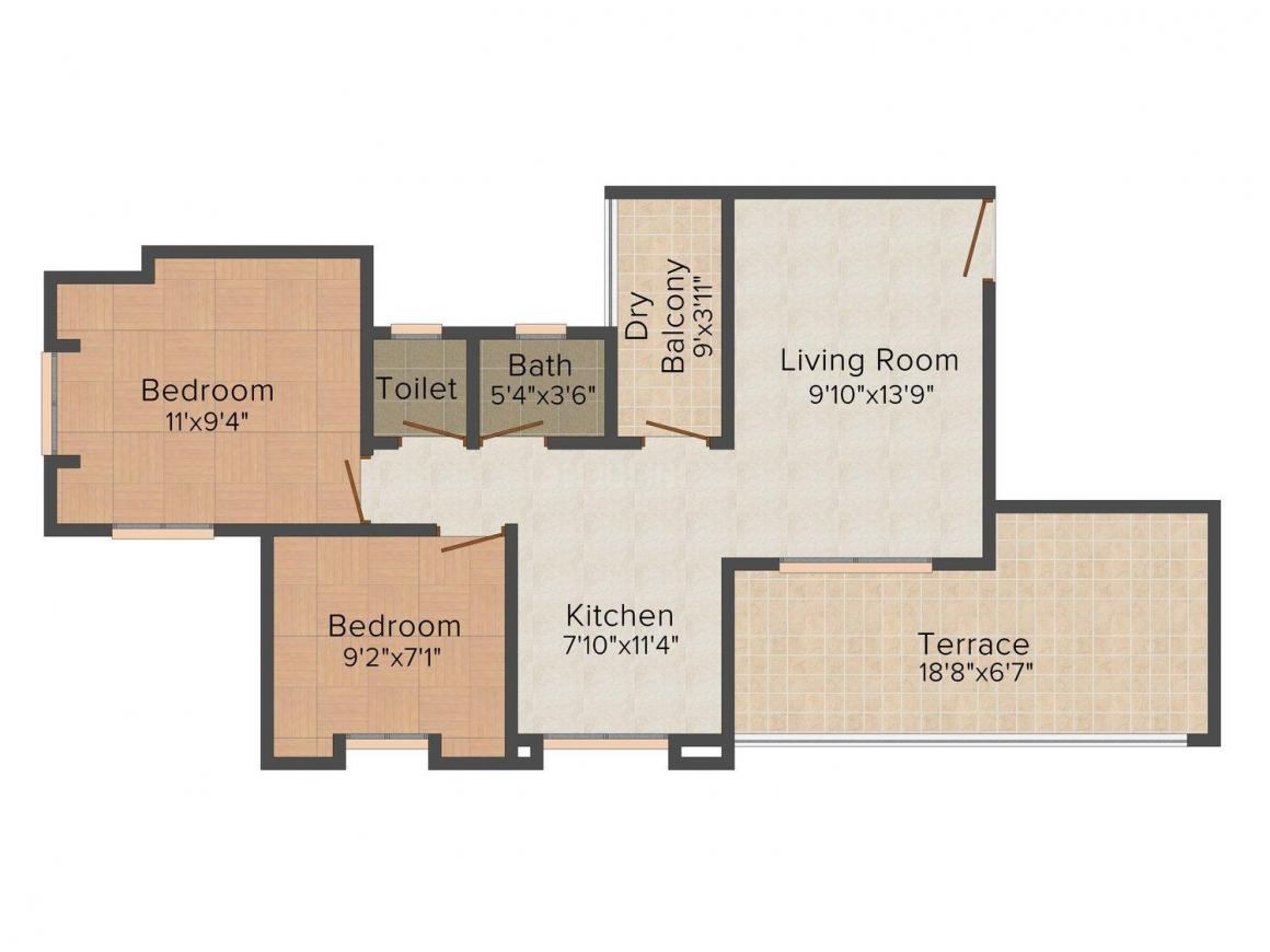Lipane Opulence Floor Plan: 2 BHK Unit with Built up area of 819 sq.ft 1