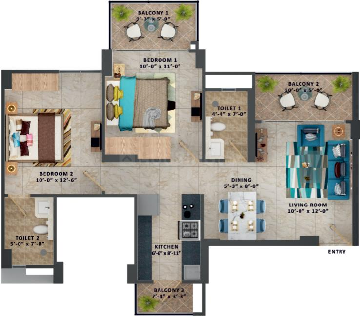 MRG Ultimus Floor Plan: 2 BHK Unit with Built up area of 570 sq.ft 1