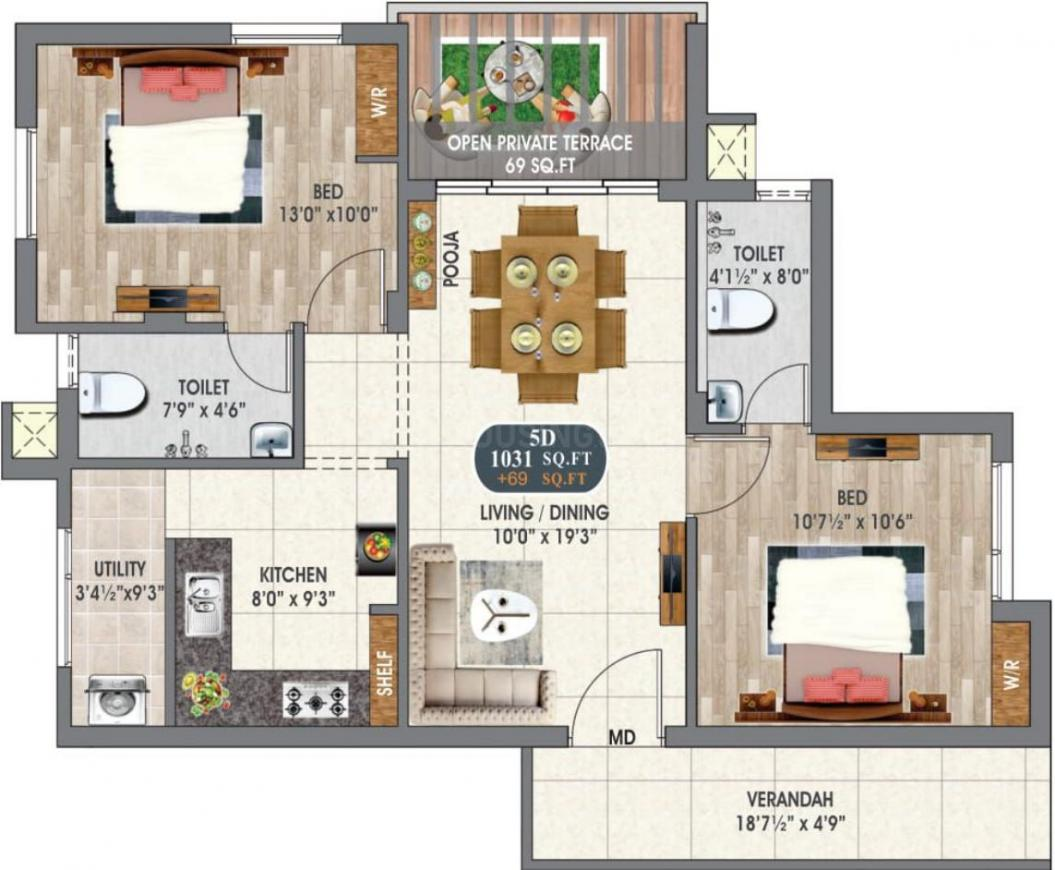 DAC Intellia Floor Plan: 2 BHK Unit with Built up area of 1031 sq.ft 1