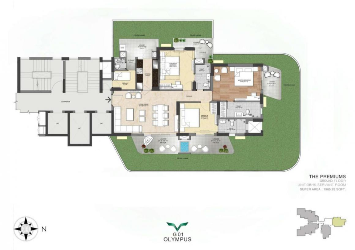 Saan Verdante Floor Plan: 3 BHK Unit with Built up area of 1965 sq.ft 1
