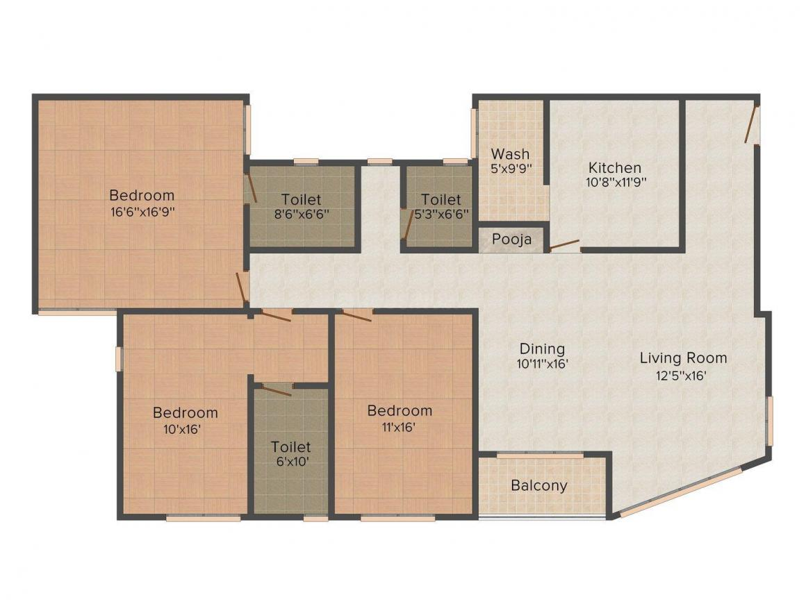 Floor Plan Image of 1903.0 - 2133.0 Sq.ft 3 BHK Apartment for buy in Sreevatsa's Global Village