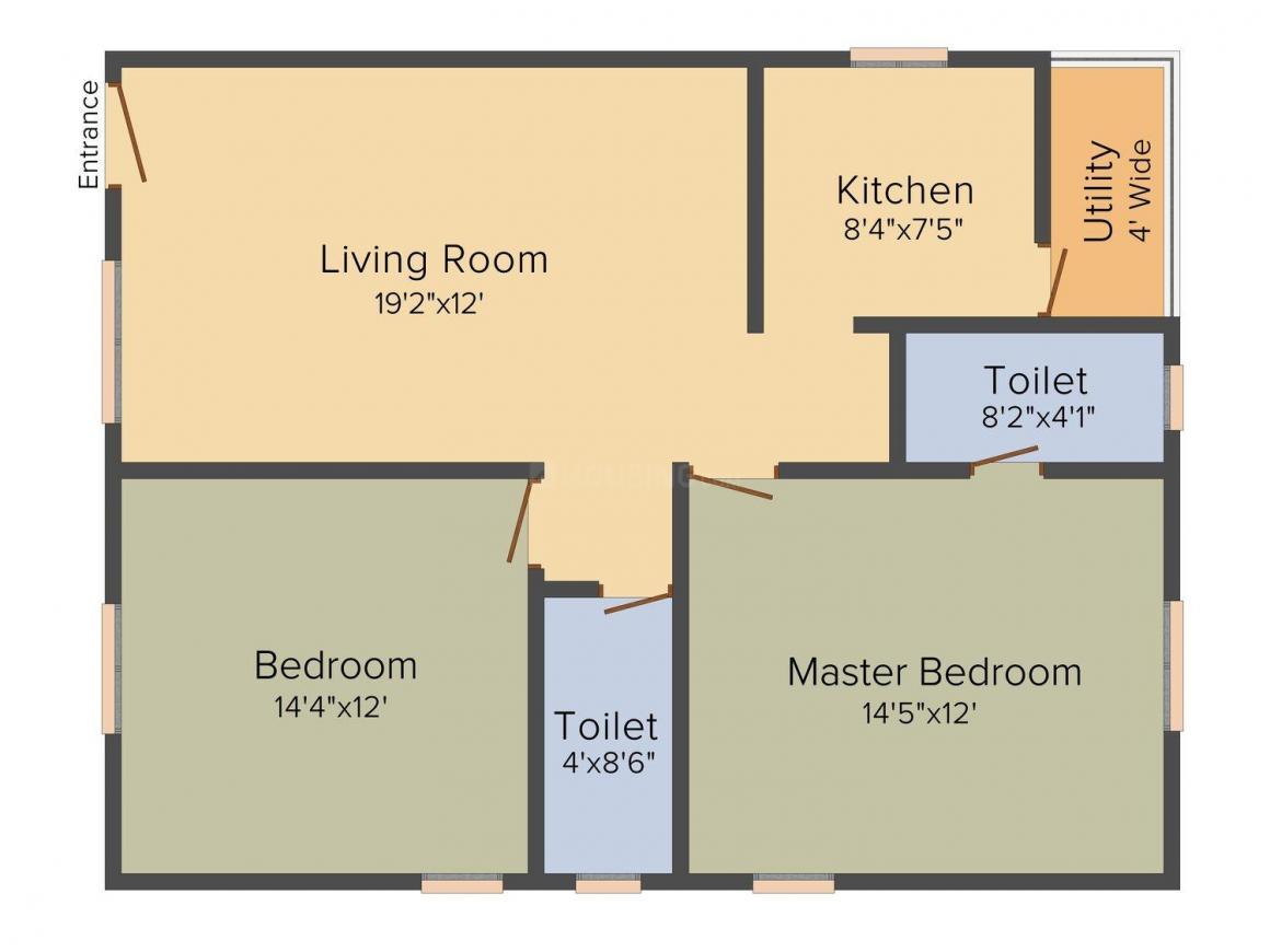 Sai Sloka Enclave Floor Plan: 2 BHK Unit with Built up area of 1058 sq.ft 1