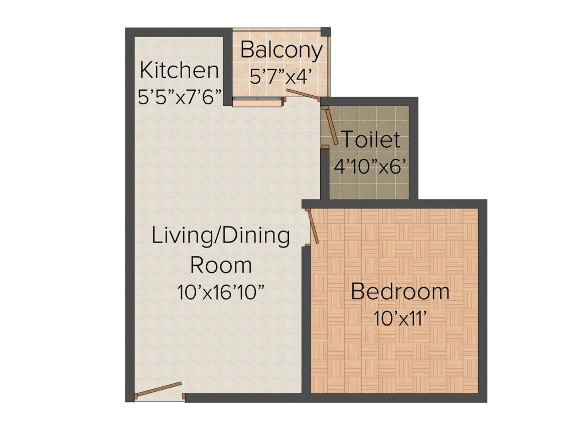 Floor Plan Image of 485 - 680 Sq.ft 1 BHK Apartment for buy in Shree Siddhivinayak Complex