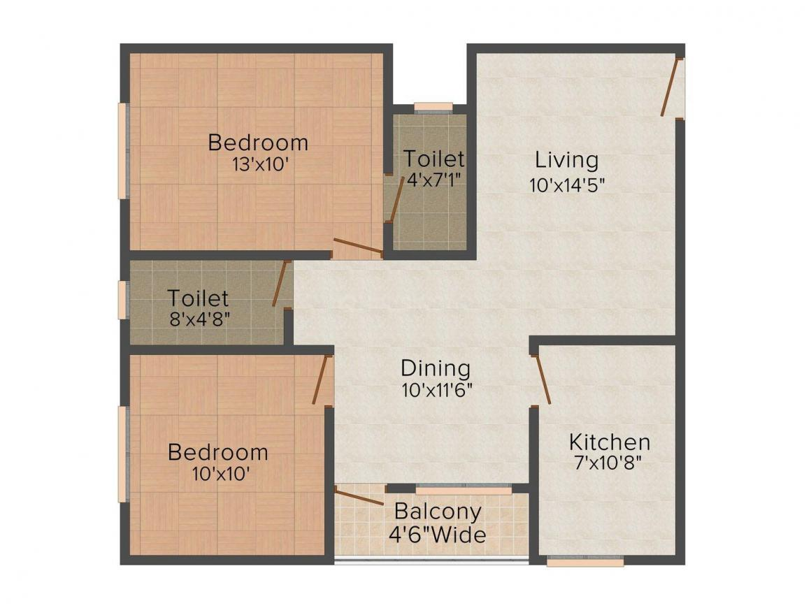Floor Plan Image of 1001 - 1414 Sq.ft 2 BHK Apartment for buy in Ratna Lifestyle