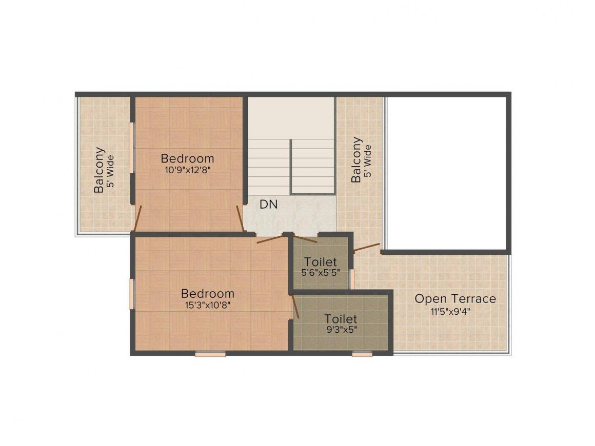 Floor Plan Image of 1420.0 - 1776.0 Sq.ft 3 BHK Row House for buy in Micon Autumn Leaves