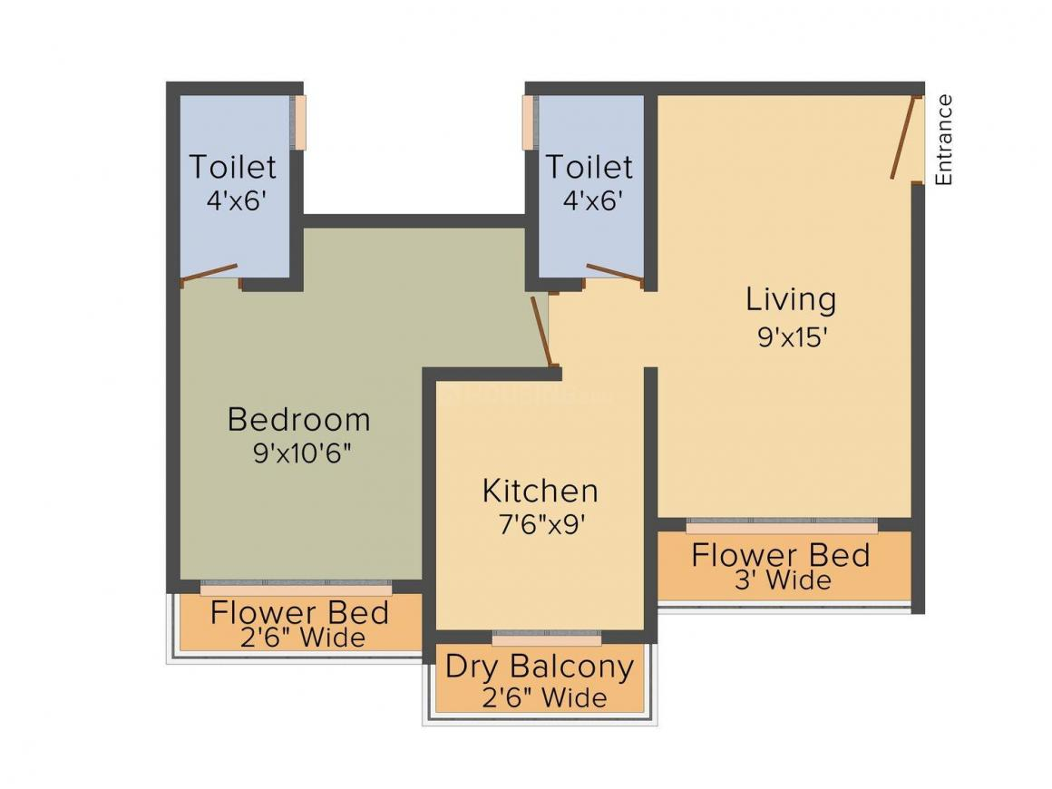 Floor Plan Image of 650 - 740 Sq.ft 1 BHK Apartment for buy in Manish Mahadev Height
