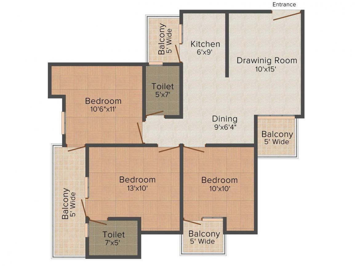 Floor Plan Image of 0 - 1500.0 Sq.ft 3 BHK Independent Floor for buy in Salasar Estate 3