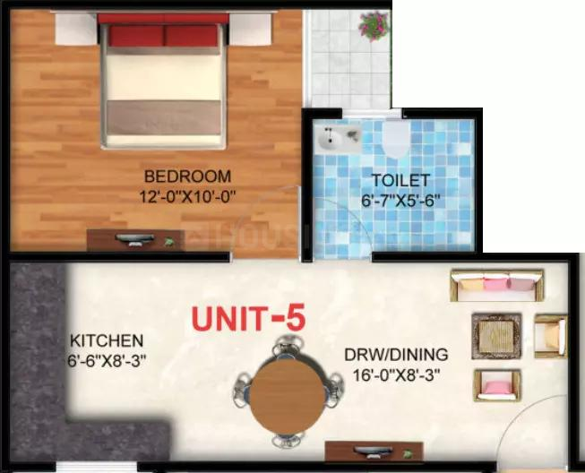 Floor Plan Image of 400 - 1150 Sq.ft 1 BHK Apartment for buy in Yashica Heights