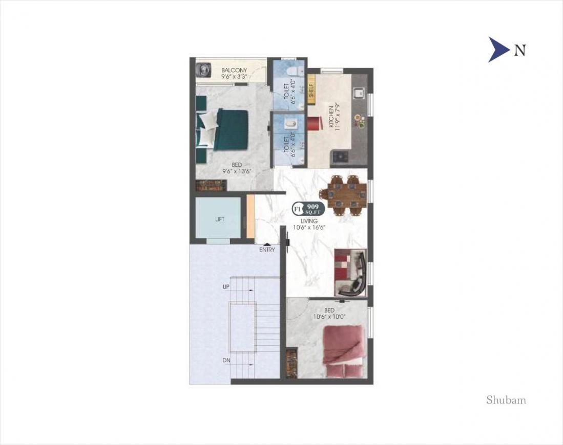 DAC Shubam And Vishvam Floor Plan: 2 BHK Unit with Built up area of 909 sq.ft 2