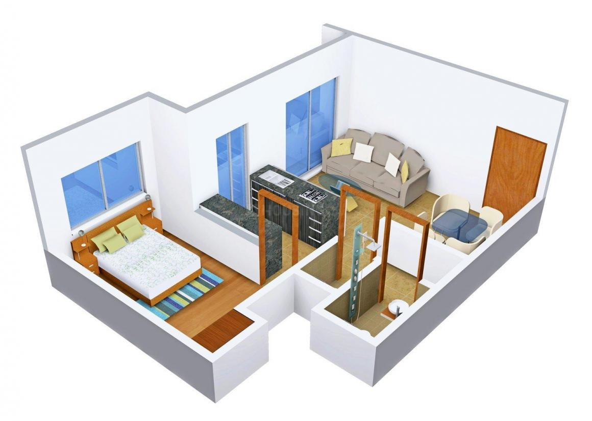 Floor Plan Image of 633 - 661 Sq.ft 1 BHK Apartment for buy in Bhavani Orchid