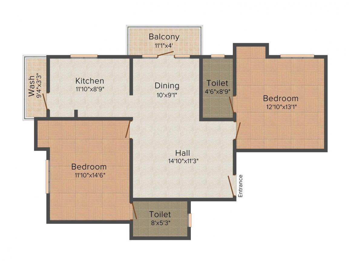 Floor Plan Image of 1217.0 - 1324.0 Sq.ft 2 BHK Apartment for buy in Anand's LB Road