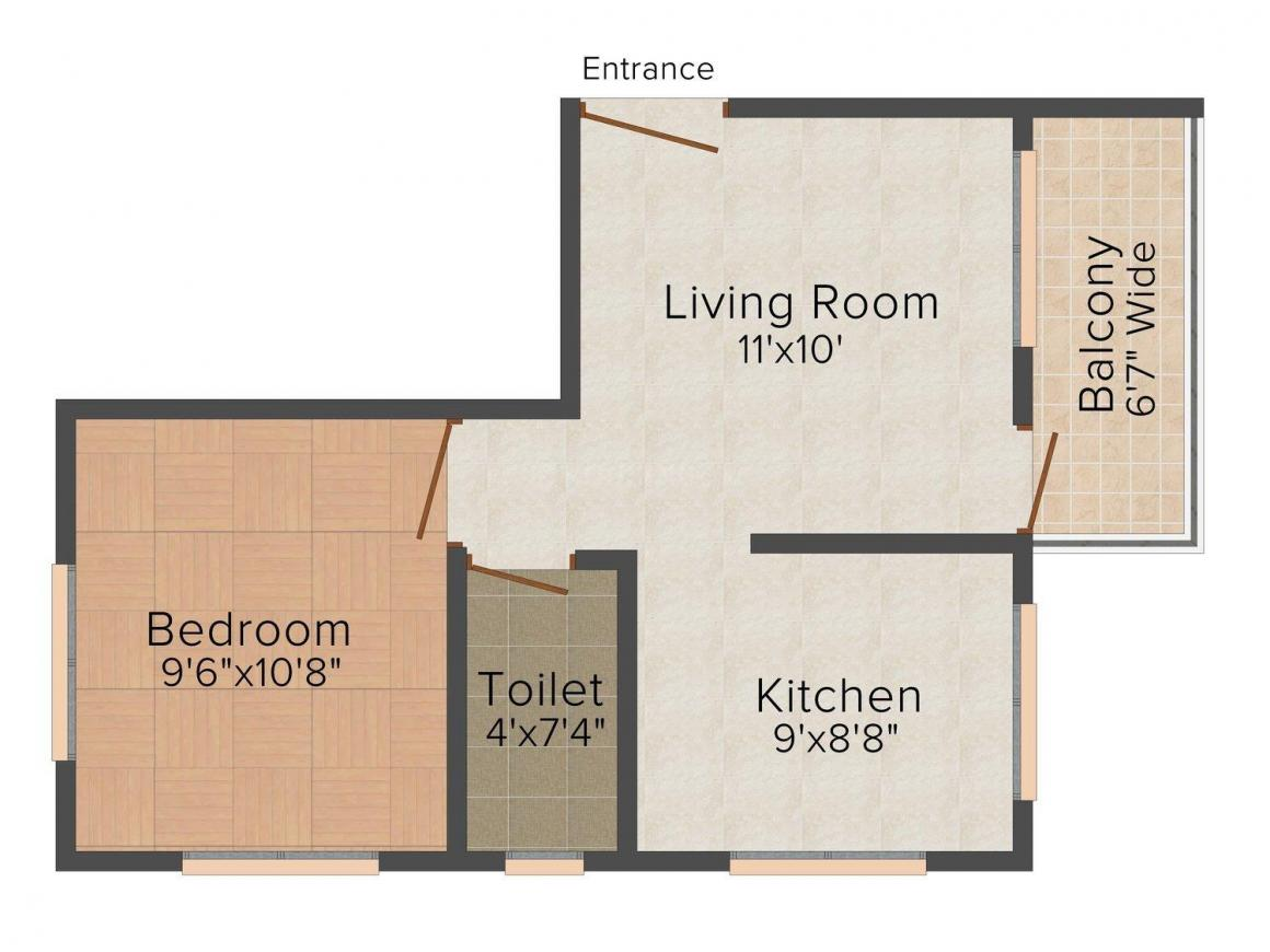 Floor Plan Image of 480 - 540 Sq.ft 1 BHK Apartment for buy in Dales West End