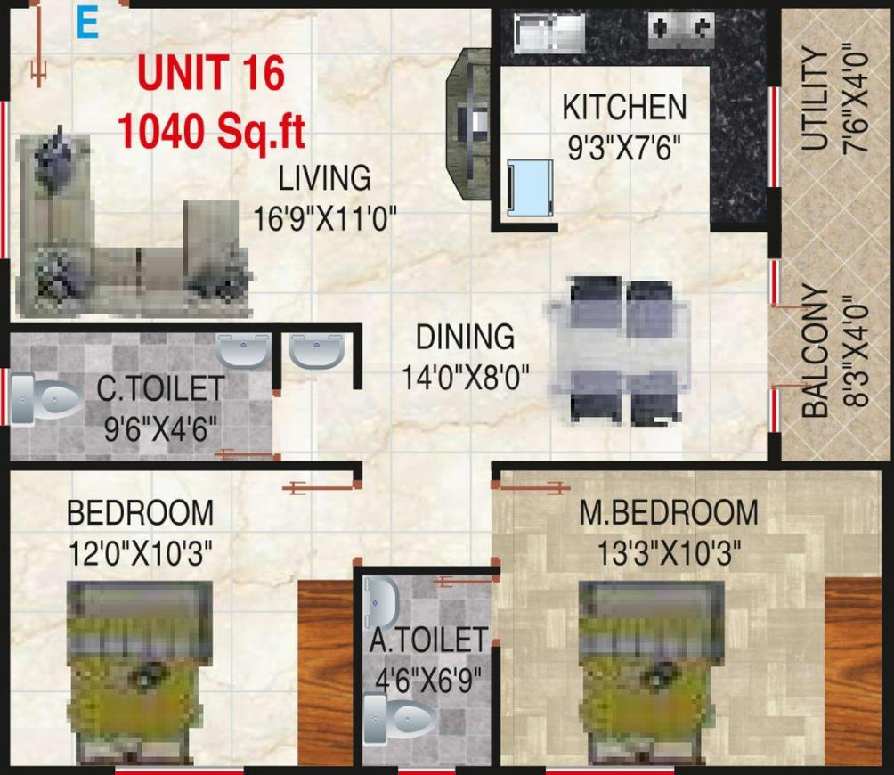 Sai Krupa Floor Plan: 2 BHK Unit with Built up area of 1040 sq.ft 1