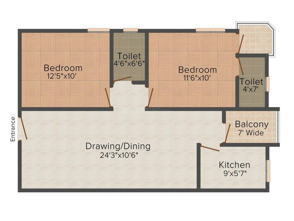 Swadha Minta Chandrawati Complex Floor Plan: 2 BHK Unit with Built up area of 945 sq.ft 1