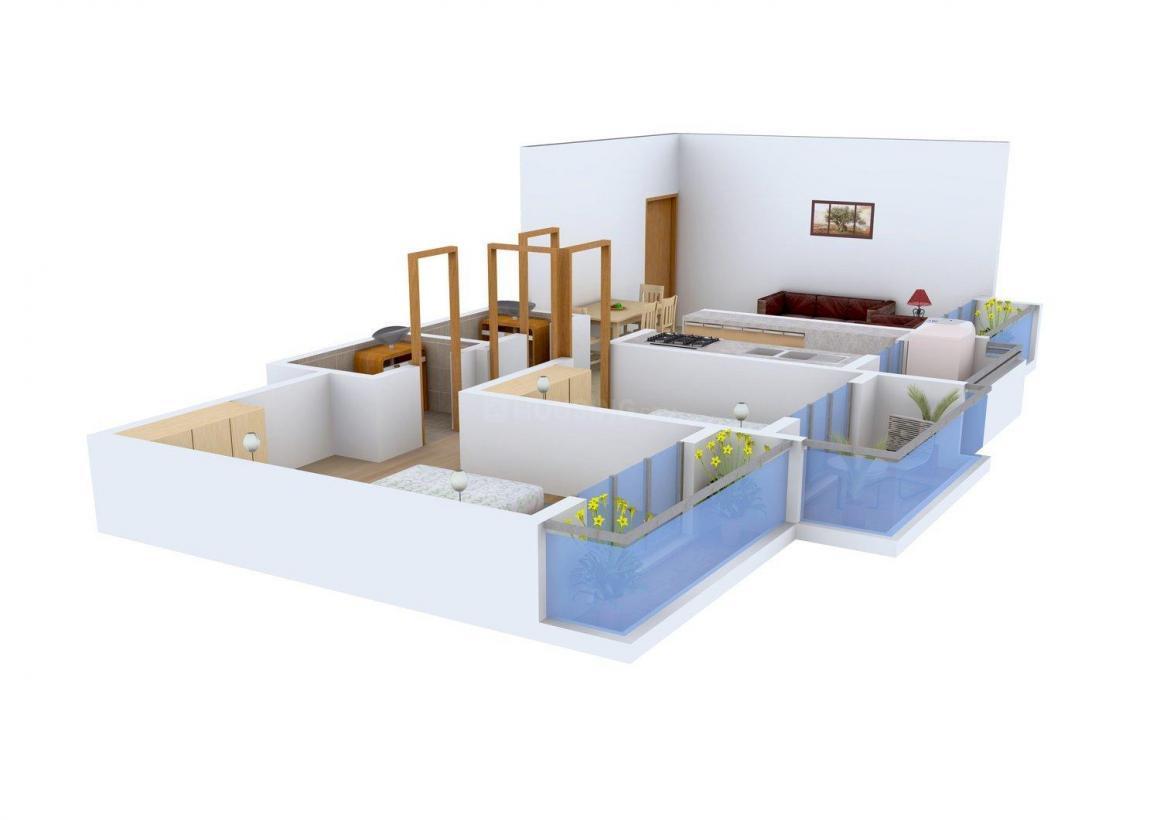 Floor Plan Image of 1067.0 - 1100.0 Sq.ft 2 BHK Apartment for buy in Pratik Khushi Residency