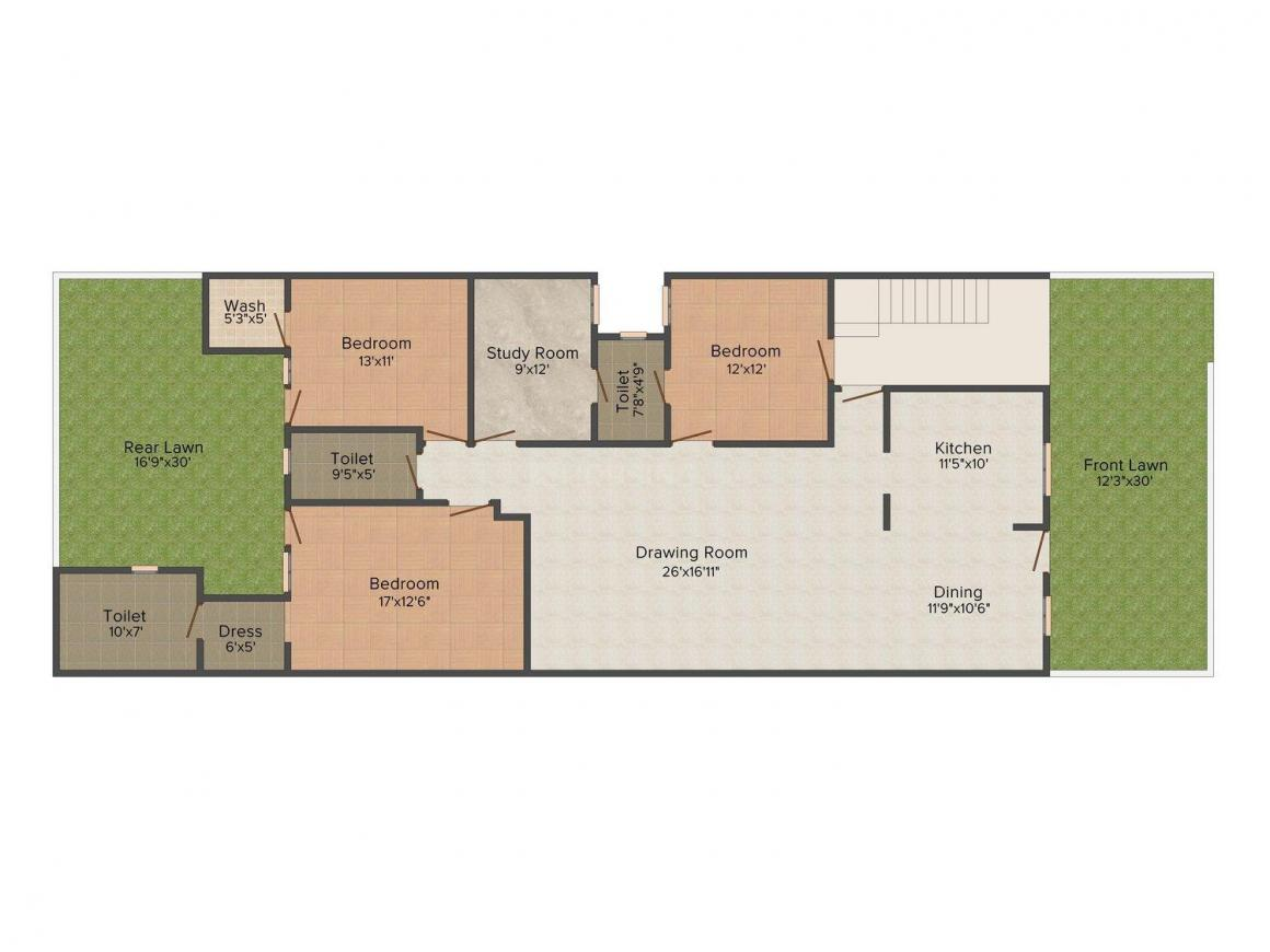 Ganpati Homes A 2515 Floor Plan: 3 BHK Unit with Built up area of 2515 sq.ft 1