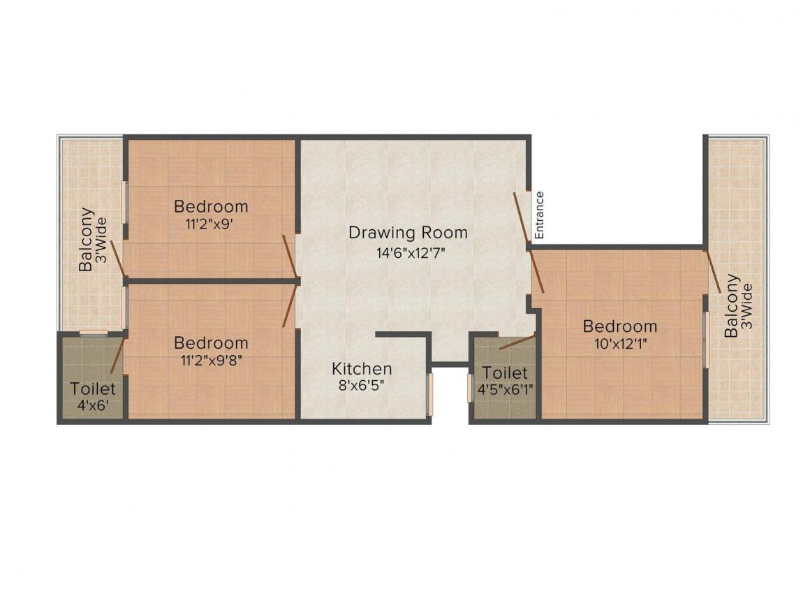 RM Site - 692 Floor Plan: 3 BHK Unit with Built up area of 850 sq.ft 1