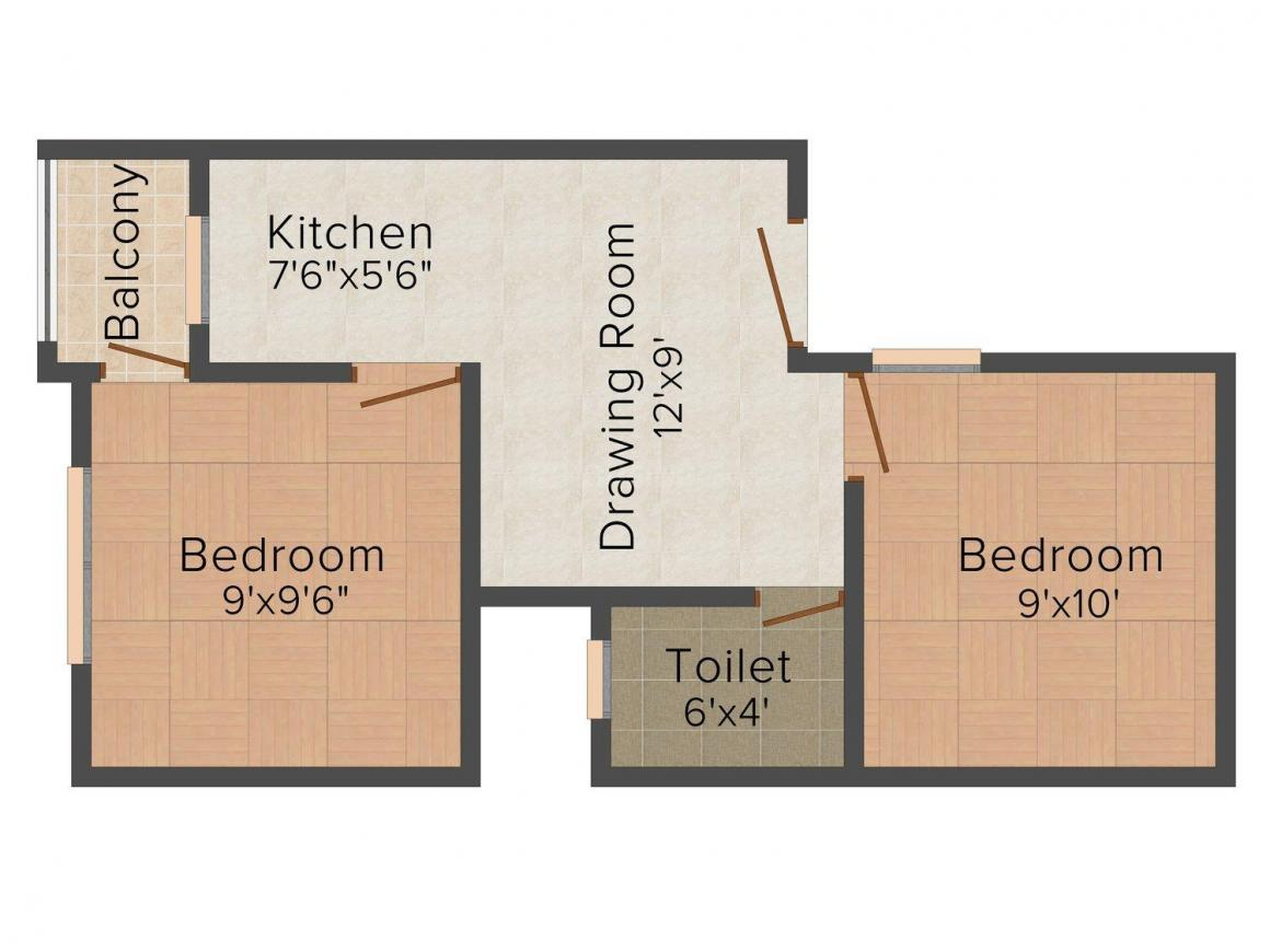 MDKJ Homes - III Floor Plan: 2 BHK Unit with Built up area of 585 sq.ft 1