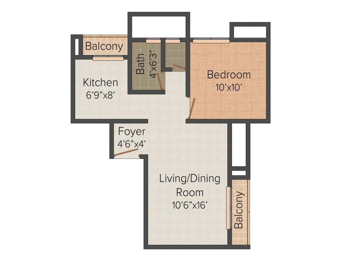 Floor Plan Image of 0 - 669.0 Sq.ft 1 BHK Apartment for buy in Vijay Galaxy