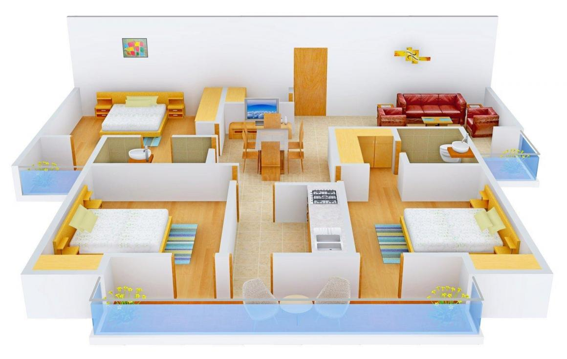 Floor Plan Image of 1581 - 2253 Sq.ft 3 BHK Apartment for buy in Rudra Twin Towers