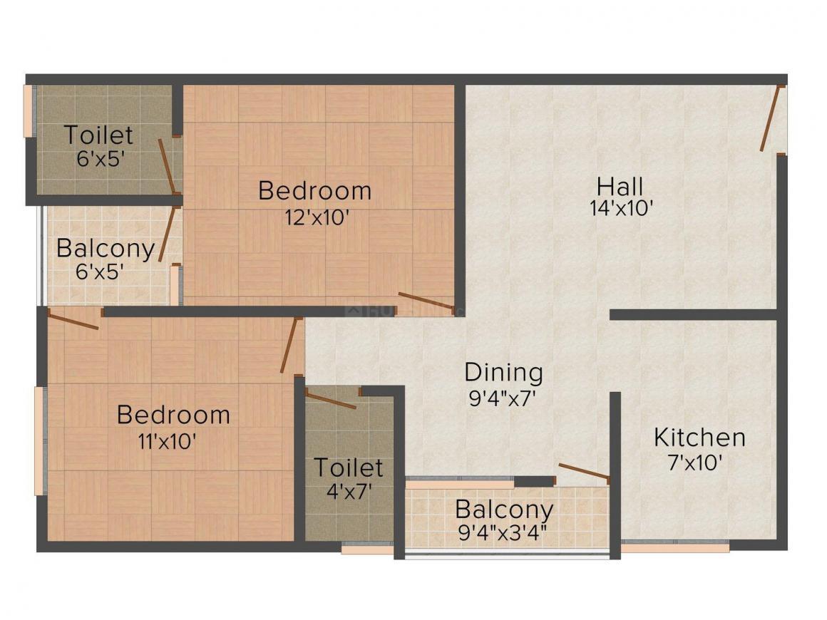 Floor Plan Image of 950.0 - 1545.0 Sq.ft 2 BHK Apartment for buy in Radhika Devcon Shanti View