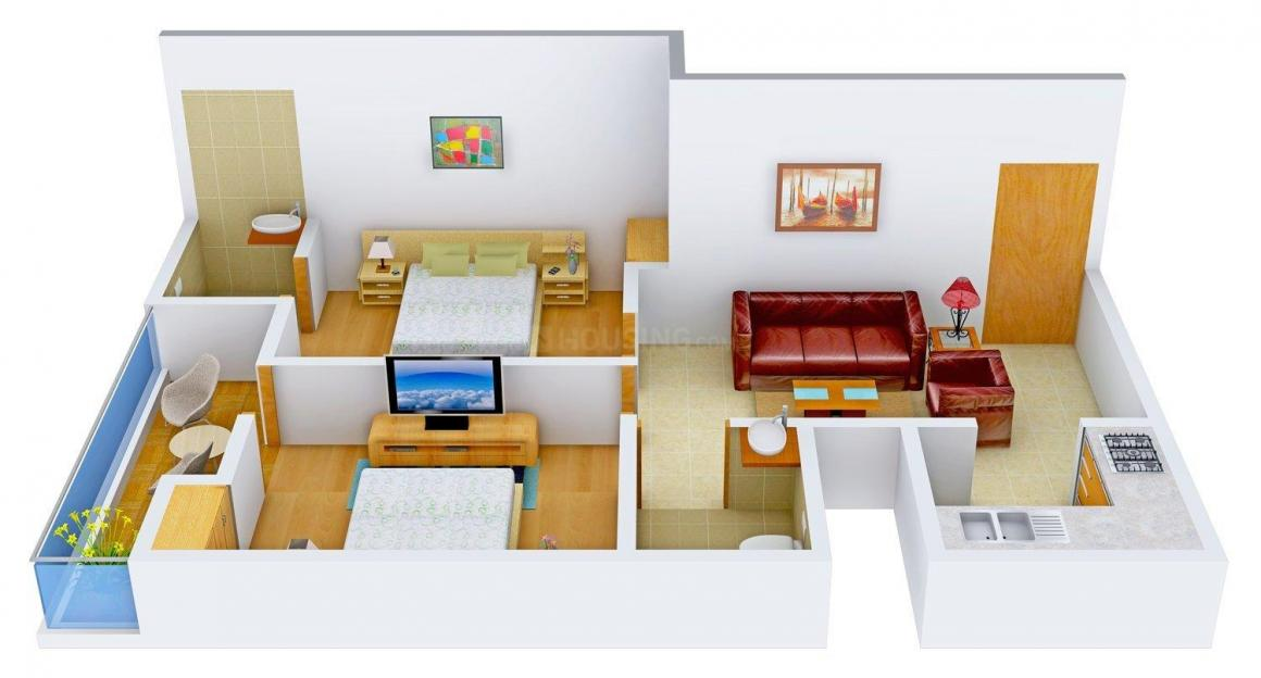Mudgal Residency Floor Plan: 2 BHK Unit with Built up area of 850 sq.ft 1
