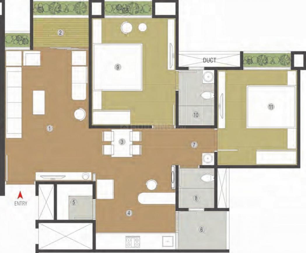 Vishwa Lake Iksa Floor Plan: 2 BHK Unit with Built up area of 722 sq.ft 1