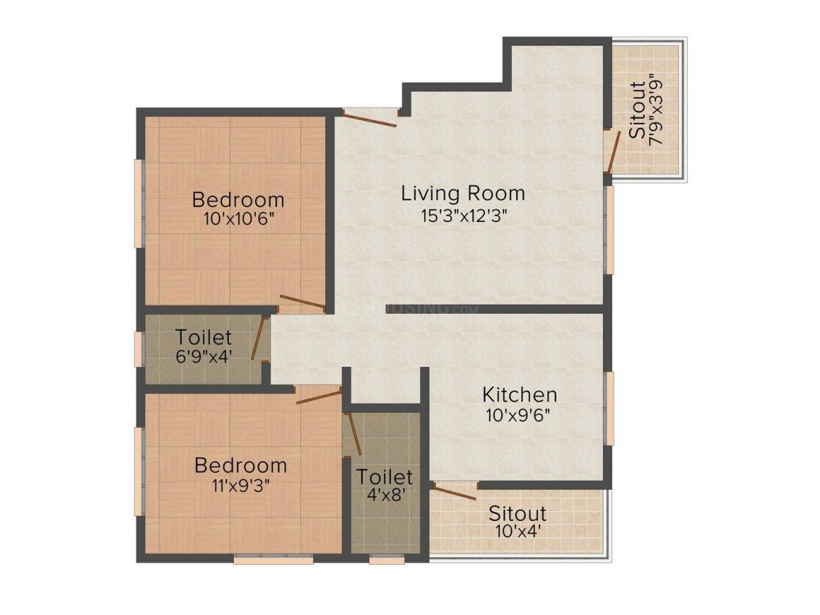 Floor Plan Image of 895.0 - 945.0 Sq.ft 2 BHK Apartment for buy in Pride India Orchid Residency