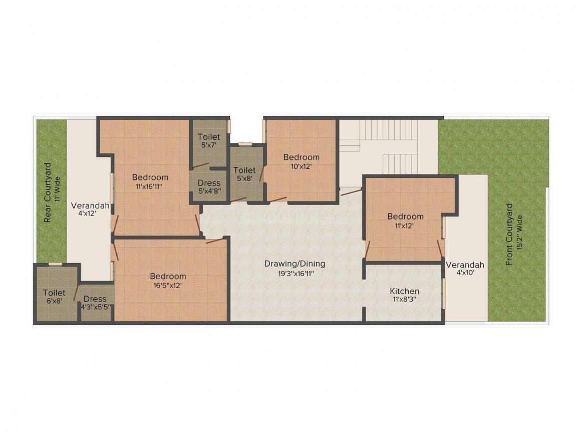 PLD Floors C-4/21 Floor Plan: 4 BHK Unit with Built up area of 1900 sq.ft 1