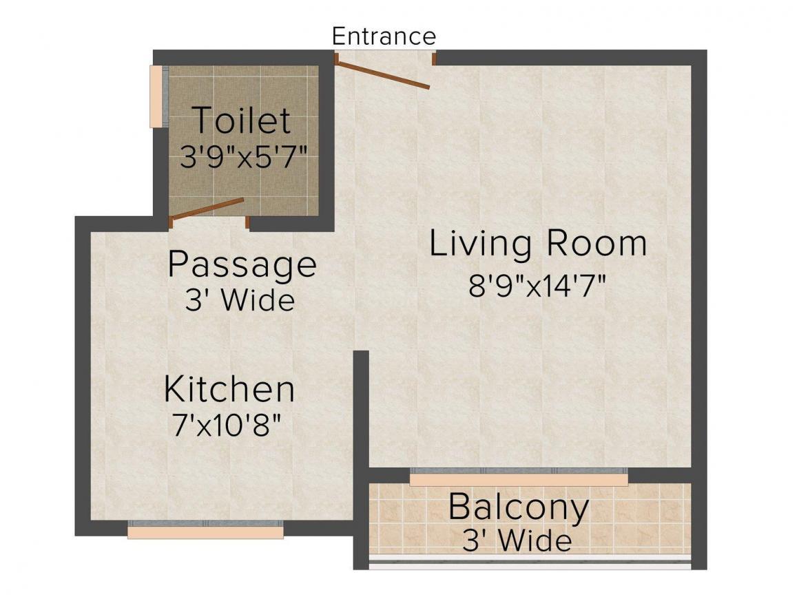 Floor Plan Image of 377.0 - 500.0 Sq.ft 1 RK Apartment for buy in Divyaraj Sadnya Height